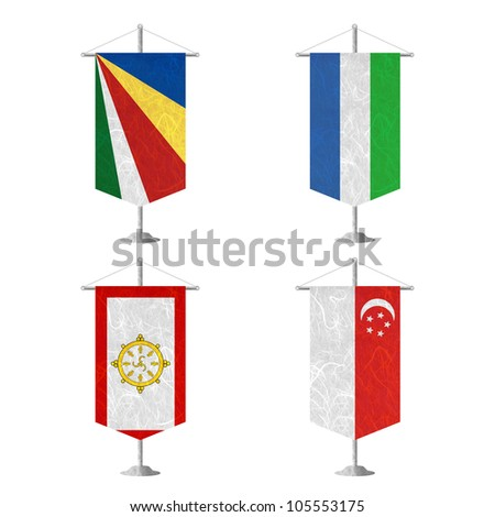 Nation Flag. Table flag recycled paper on white background. ( Seychelles , Sierra Leone , Sikkim , Singapore ) - stock photo