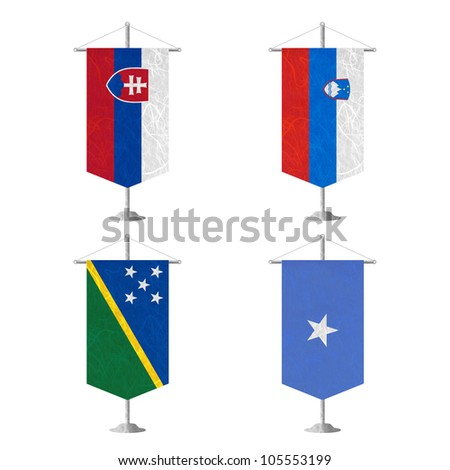 Nation Flag. Table flag recycled paper on white background. ( Slovakia , Slovenia , Solomon Islands , Somalia ) - stock photo