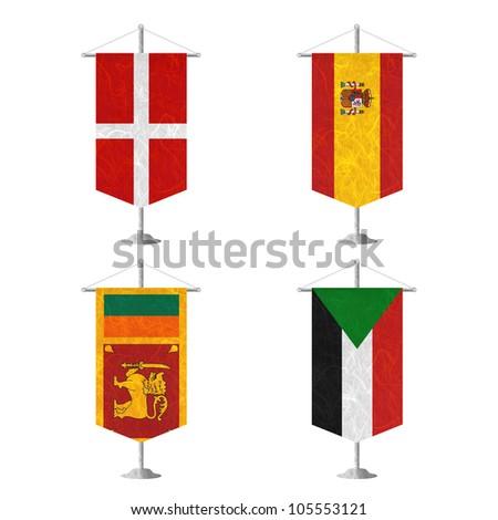 Nation Flag. Table flag recycled paper on white background. ( Sovereign Military Order of Malta , Spain , Sri Lanka , Sudan ) - stock photo