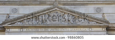 National Archives Building detail - close up view, facade in Washington DC, USA - stock photo