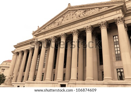 National Archives Building, facade in Washington DC, USA - stock photo