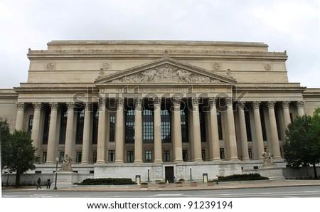 National Archives Building, facade in Washington DC, USA - stock photo