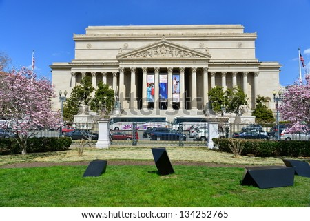 National Archives facade in Washington DC, United States - stock photo