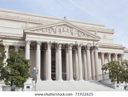 National Archives facade in Washington DC, USA - stock photo