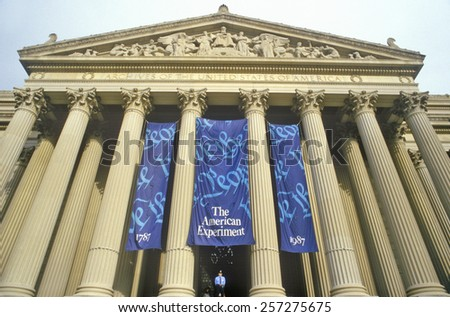 National Archives, home of the Constitution, Washington, DC - stock photo