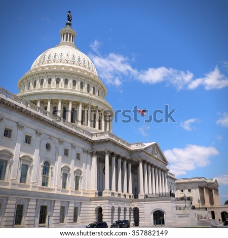 National Capitol, Washington D.C. American capital city landmark. - stock photo