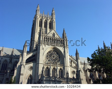 National Cathedral in Washington D.C. - stock photo