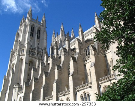 National Cathedral on sunny day - stock photo