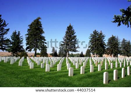 National Cemetery at Little Bighorn Battlefield - stock photo