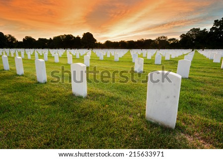 National Cemetery for Military Veterans. Morning Sunrise - stock photo