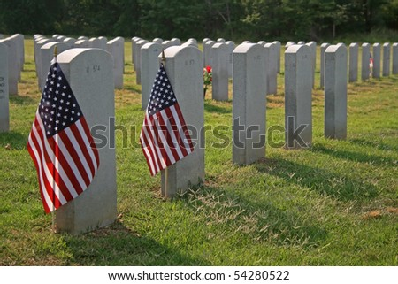 National Cemetery on Memorial Day - stock photo