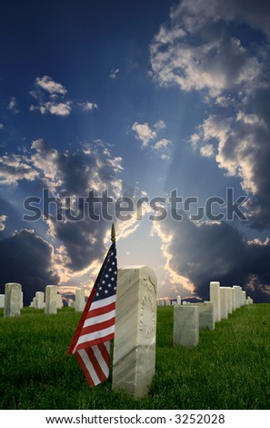 National Cemetery with Flag - stock photo