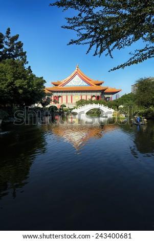 National Concert Hall at Chiang Kai ? shek Memorial Hall Square in Taipei - Taiwan. - stock photo