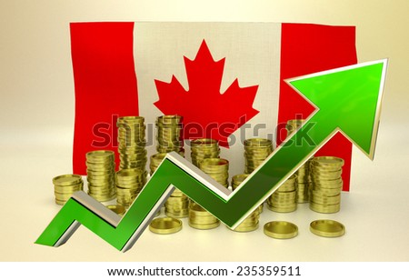 national economy concept - currency appreciation illustration - Canadian Dollar - stock photo