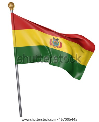 National flag for country of Bolivia isolated on white background, 3D rendering
