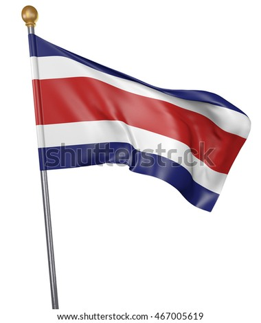 National flag for country of Costa Rica isolated on white background, 3D rendering
