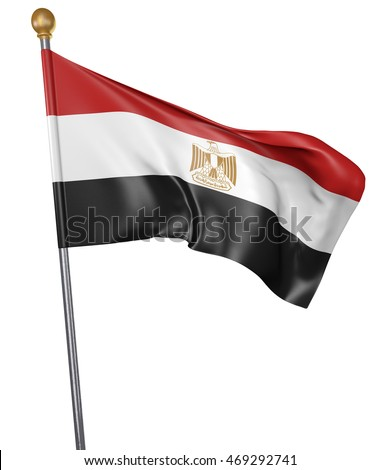 National flag for country of Egypt isolated on white background, 3D rendering