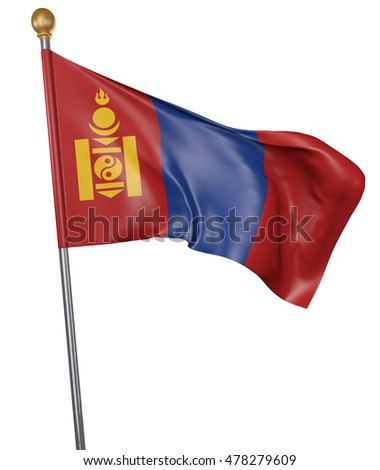 National flag for country of Mongolia isolated on white background, 3D rendering