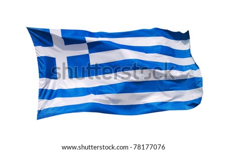 National flag Greece, isolated by clipping path on white background - stock photo