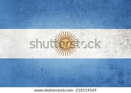 National flag of Argentina. Grunge effect. - stock photo