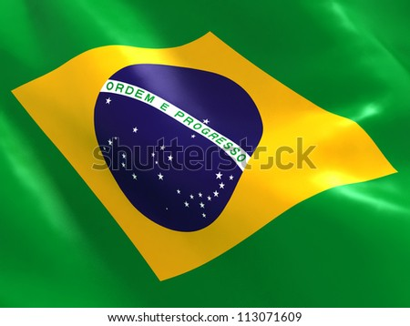 National Flag of Brazil - stock photo