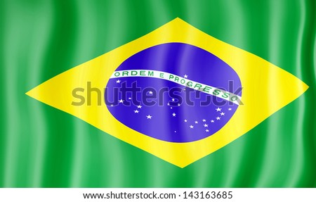 National flag of Brazil - stock photo