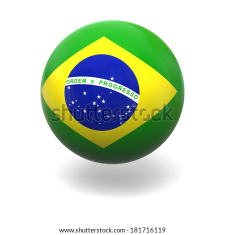 National flag of Brazil on sphere isolated on white background