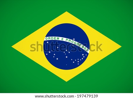 National flag of Brazil with correct proportions and color scheme (raster illustration)