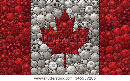 National Flag of Canada Soccer Balls Mosaic Illustration Design Concept - stock photo