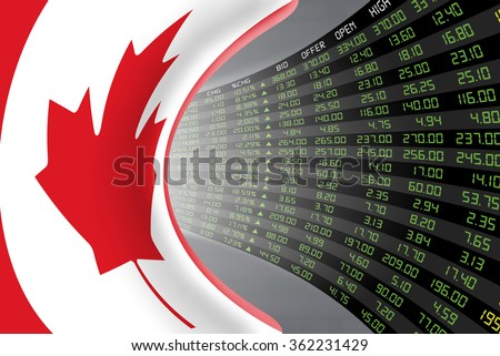 National flag of Canada with a large display of daily stock market price and quotations during economic booming period. The fate and mystery of Toronto stock market, tunnel/corridor concept. - stock photo