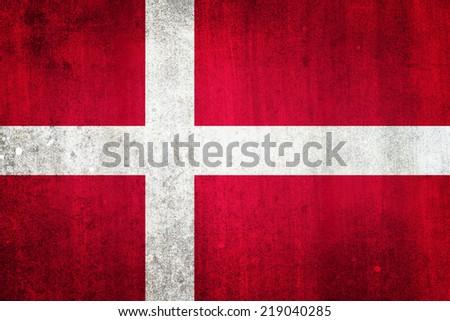 National flag of Denmark. Grungy effect. - stock photo