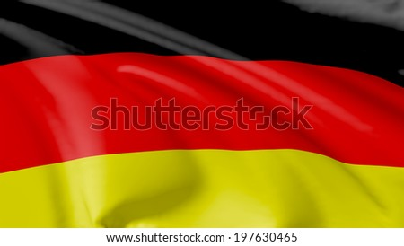 National flag of Federal Republic of Germany flying in the wind, 3d illustration