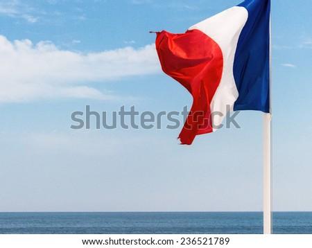 national flag of france, symbolic photo for patriotism, sovereignty, diplomacy - stock photo