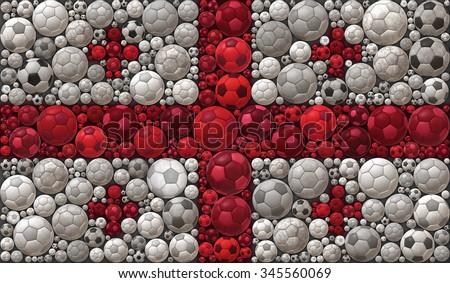 National Flag of Georgia Soccer Balls Mosaic Illustration Design Concept Sport Background - stock photo