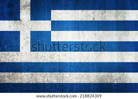 National flag of Greece. Grungy effect. - stock photo
