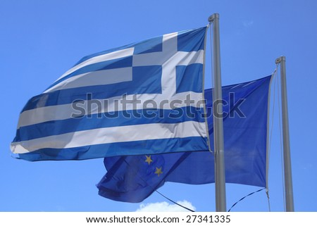 National flag of Greece with European flag on background - stock photo