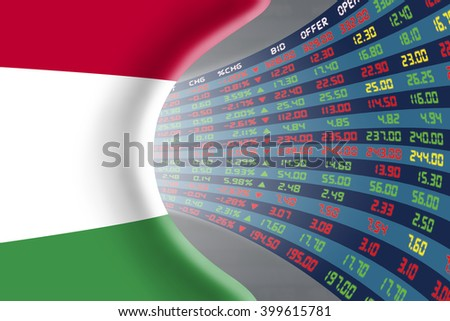 National flag of Hungary with a large display of daily stock market price and quotations during normal economic period. The fate and mystery of Budapest stock market, tunnel / corridor concept. - stock photo