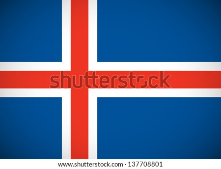 National flag of Iceland with correct proportions and color scheme (raster illustration) - stock photo