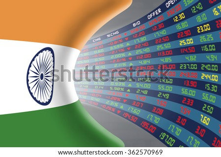 National flag of India with a large display of daily stock market price and quotations during normal economic period. The fate and mystery of New Delhi stock market, tunnel/corridor concept. - stock photo