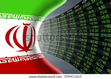 National flag of Iran with a large display of daily stock market price and quotations during economic booming period. The fate and mystery of Tehran stock market, tunnel / corridor concept. - stock photo