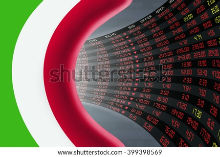 National flag of Italy with a large display of daily stock market price and quotations during depressed economic period. The fate and mystery of Rome stock market, tunnel / corridor concept. - stock photo