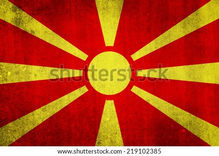 National flag of Macedonia. Grungy effect. - stock photo