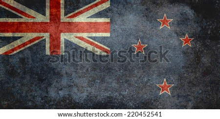 National flag of New Zealand - desaturated vintage retro texture - stock photo