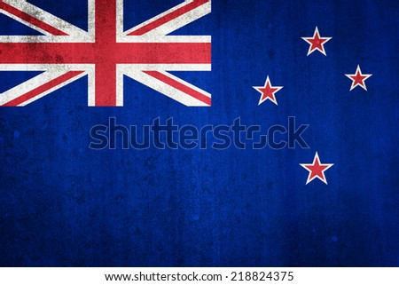 National flag of New Zealand. Grungy effect. - stock photo