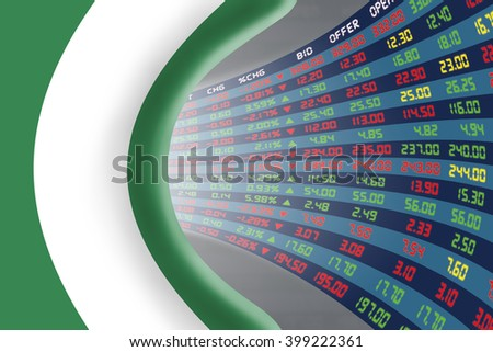 National flag of Nigeria with a large display of daily stock market price and quotations during normal economic period. The fate and mystery of Abuja stock market, tunnel / corridor concept. - stock photo
