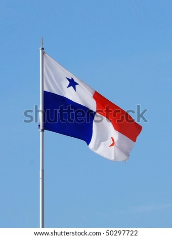 National flag of Panama flying on a sunny day. The stars and quarters are said to stand for the rival political parties, and the white for peace. Blue for Conservatives, and red for Liberals.