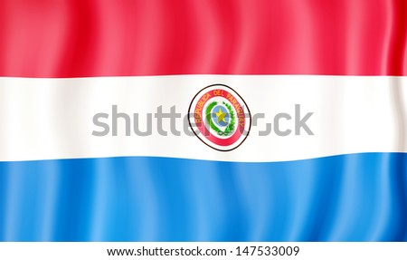 National flag of Paraguay - stock photo