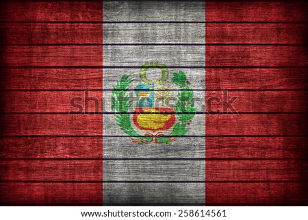 National flag of Peru flag pattern on wooden board texture ,retro vintage style - stock photo