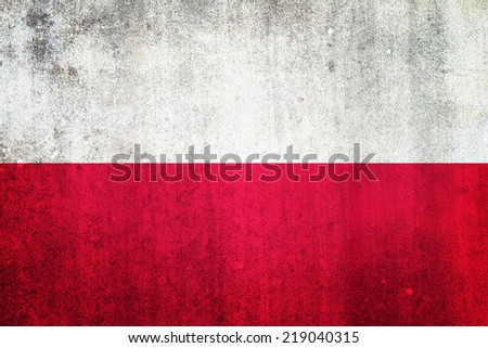 National flag of Poland. Grungy effect. - stock photo