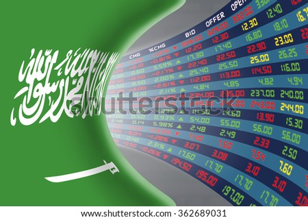 National flag of Saudi Arabia with a large display of daily stock market price and quotations during normal economic period. The fate and mystery of Riyadh stock market, tunnel/corridor concept. - stock photo